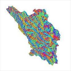 نقشه ی رستری جهت شیب استان چهارمحال و بختیاری