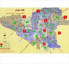 نقشه اتوکد مناطق تهران بصورت قطعه بندی